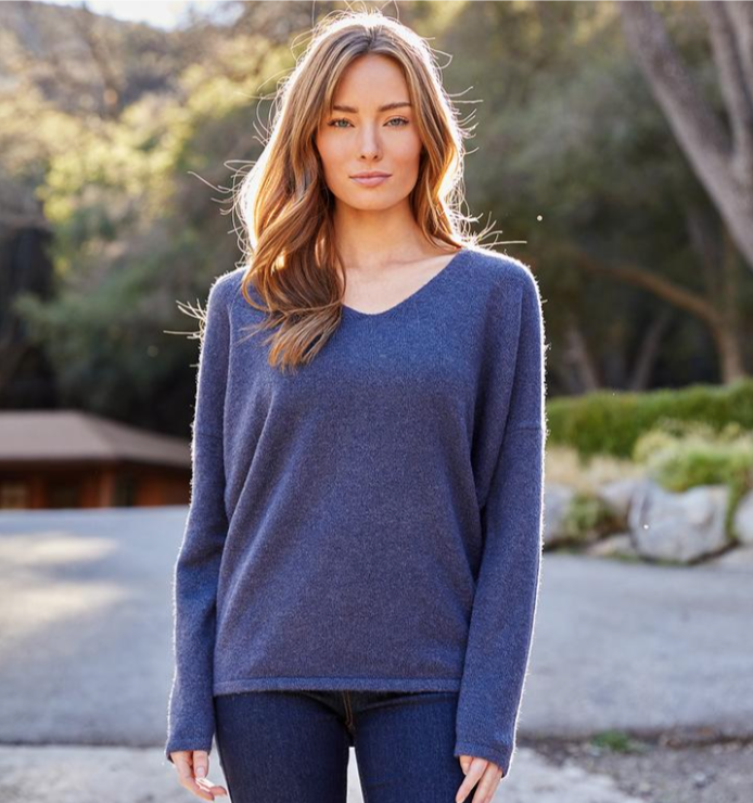 Navy V-Neck Sweater