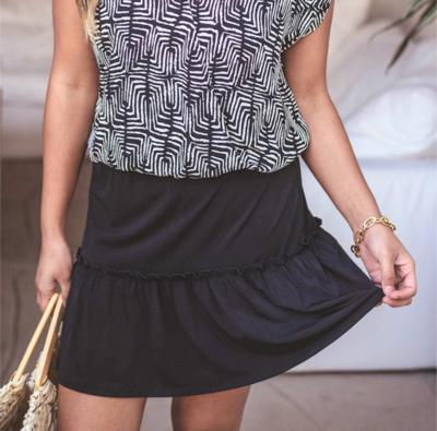 Black Smocked Skirt
