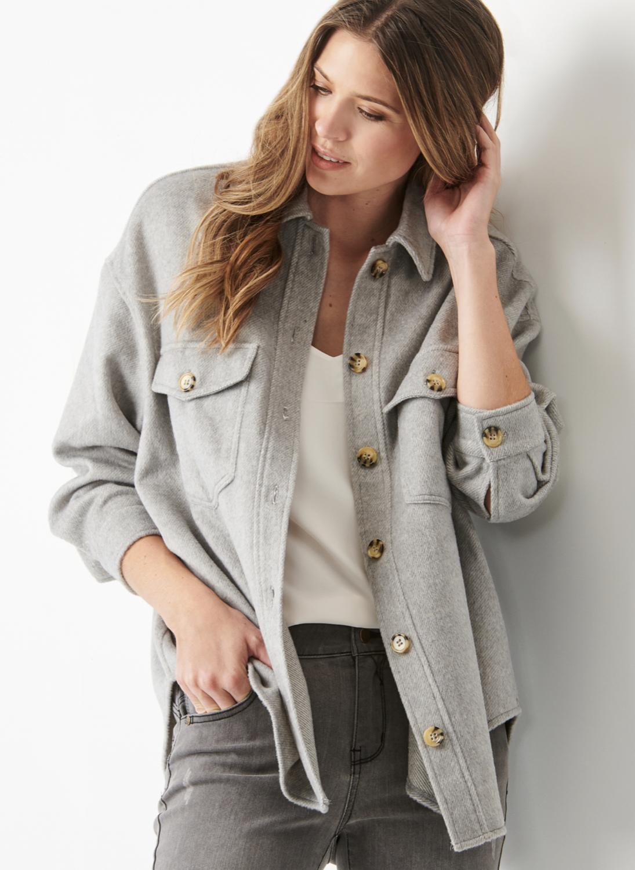 Grey Wool Blend Shacket