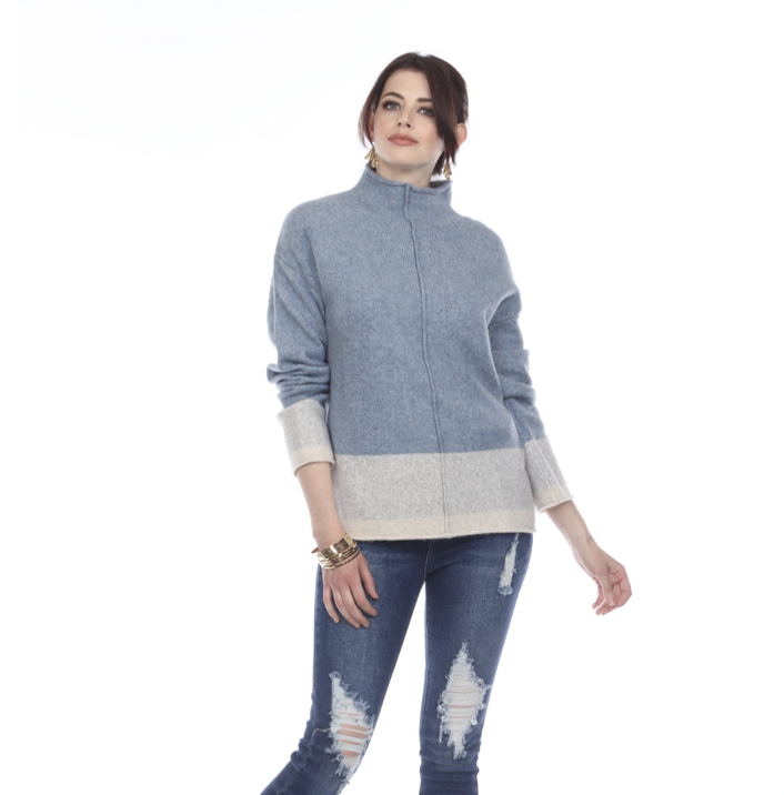 Blue High-Neck Sweater