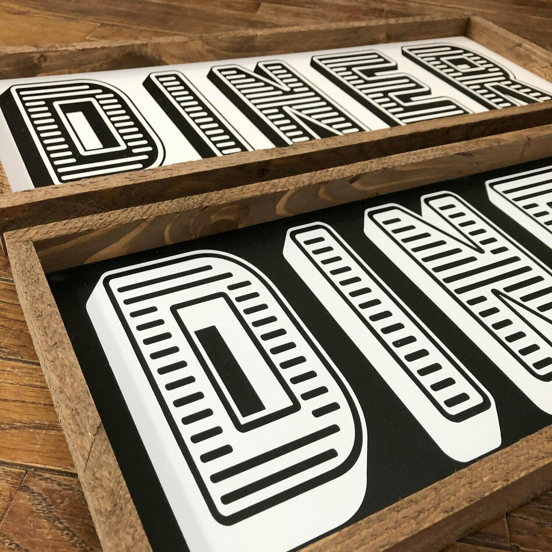 "Retro Diner – 10"" x 24"" Handmade Sign"
