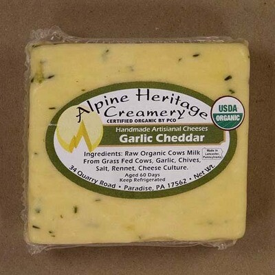 Organic Garlic Cheddar from Alpine Heritage