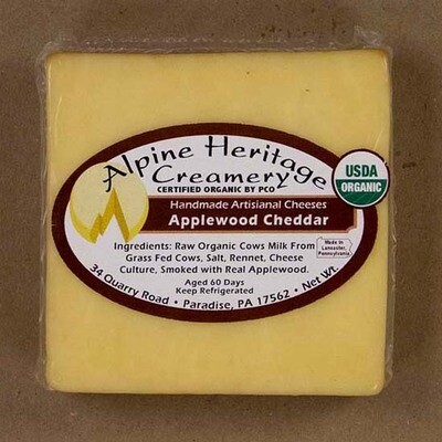Organic Applewood Cheddar from Alpine Heritage