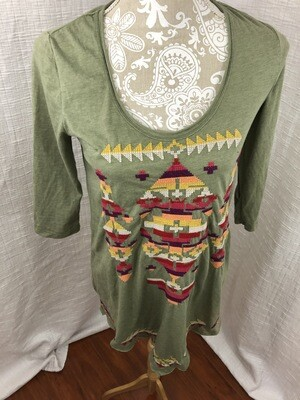 400 johnny was green embroidered long sleeve womens tunic top size xs 072620