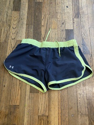 76 UNDER ARMOUR GREY NEON YELLOW WHITE ACTIVE SHORTS WITH BUILT IN UNDERWEAR WOMEN SIZE MED