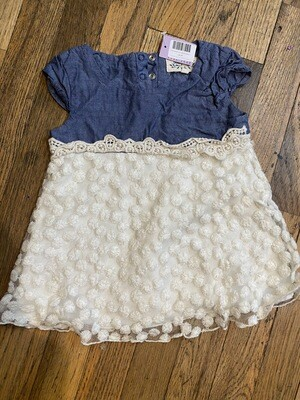 1190 indigo soul denim white lace short sleeve toddler girls 2t dress 081420