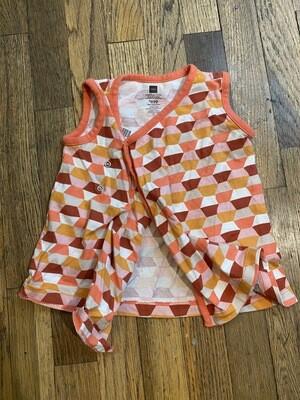 1190 tea collection orange/white/pink/tan multi tank dress baby 12-18m 081420