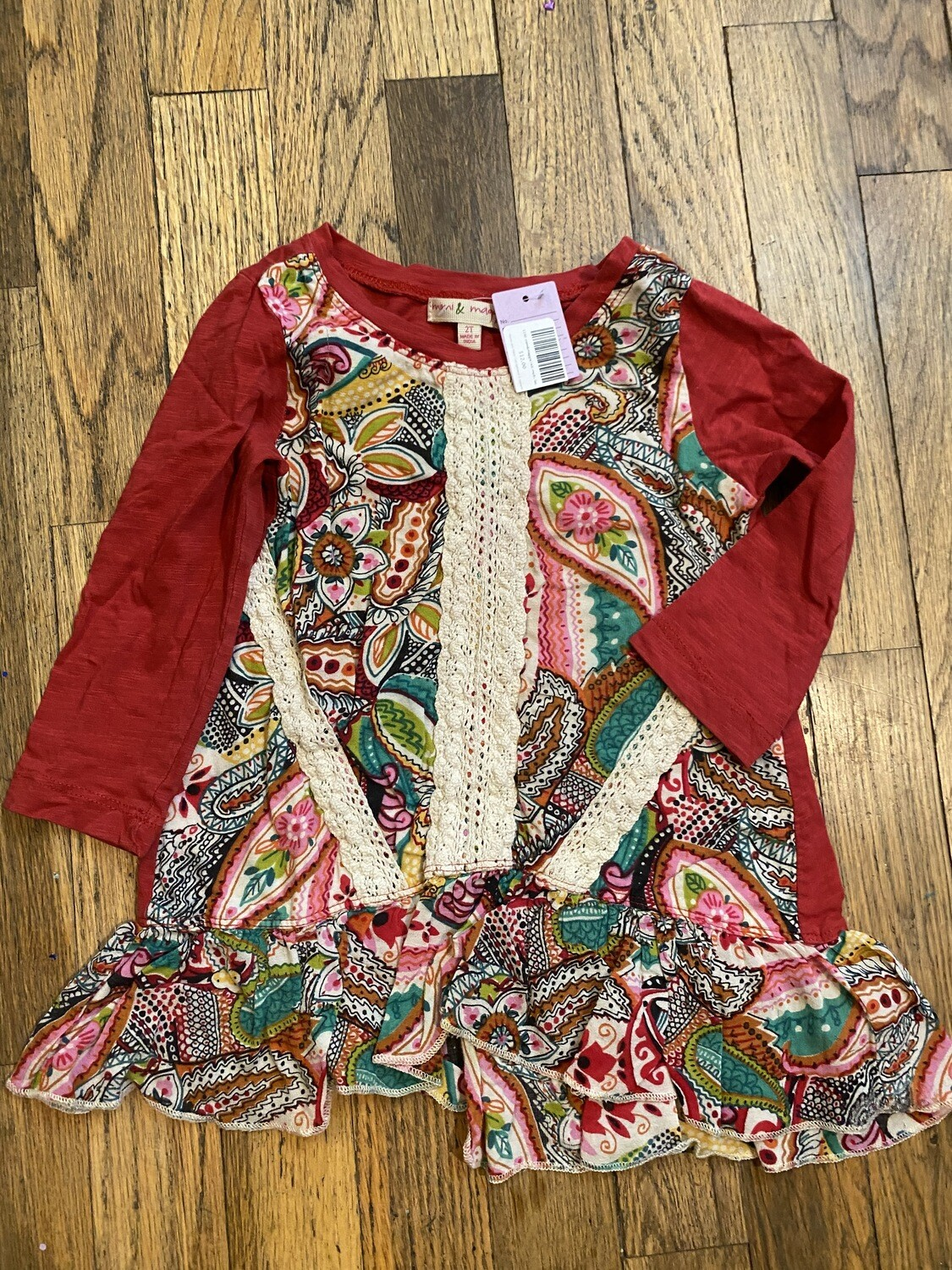 1190 mimi&maggie red/multi/lace long sleeve 2t toddler girl dress 081420