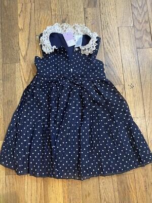 1190 Blueber 24 months blue white polka dot dress kids 080820