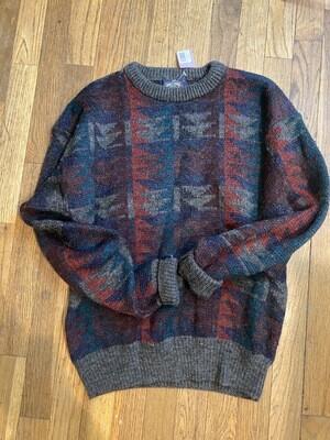 221 knights bridge maroon/grey/blue multi wool sweater size medium 082820