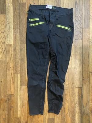 577 rock & republic black neon yellow womens skinny jeans size 10M 090120