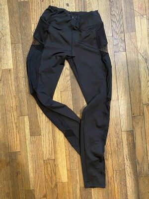 976 live electric black leggings with mesh cutouts size small 082720