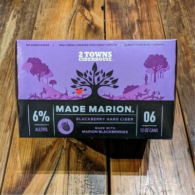 2 Towns Cider Made Marion Blackberry 12 FL. OZ. 6PK Cans