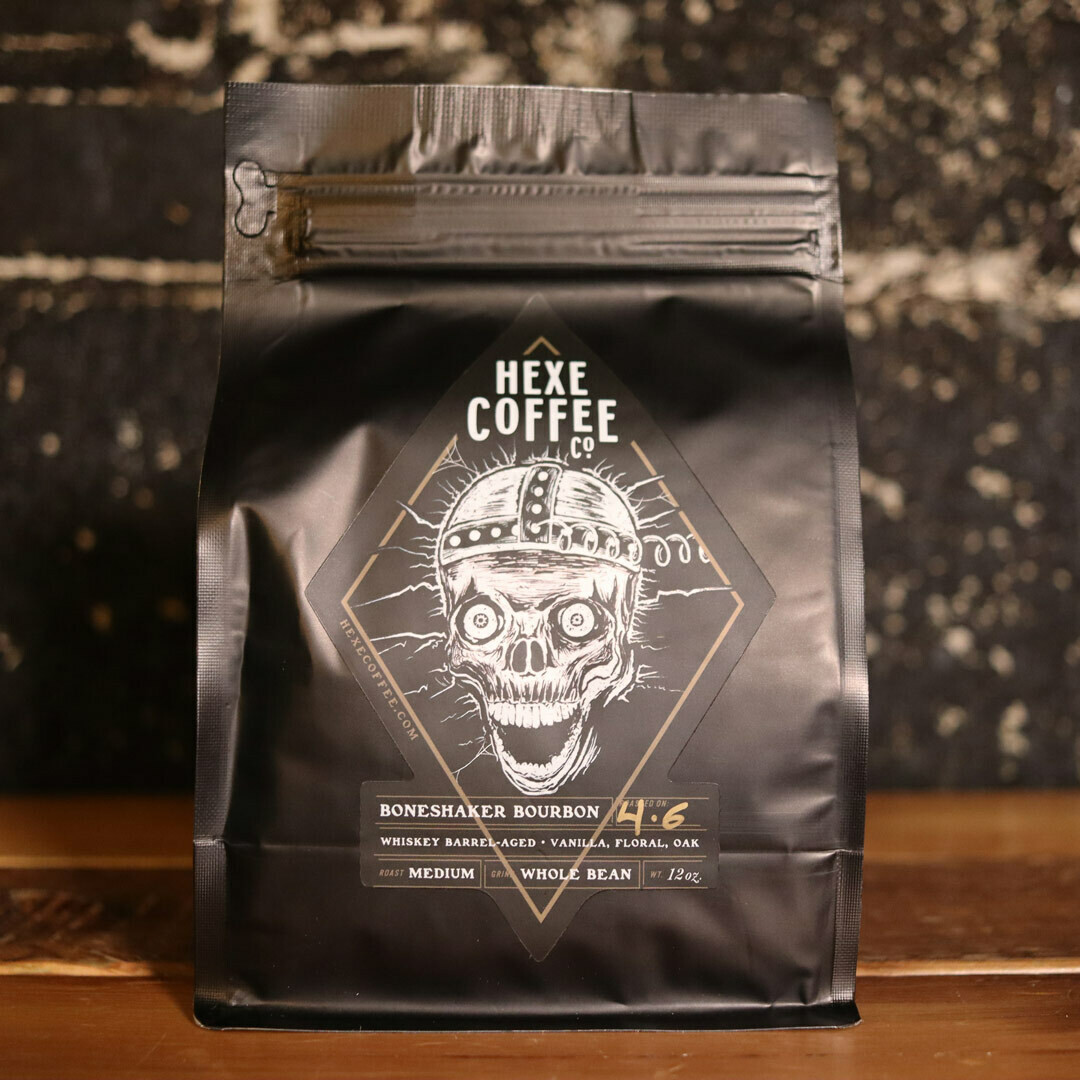 HEXE Bone Shaker Bourbon Whole Bean 12 OZ. Bag