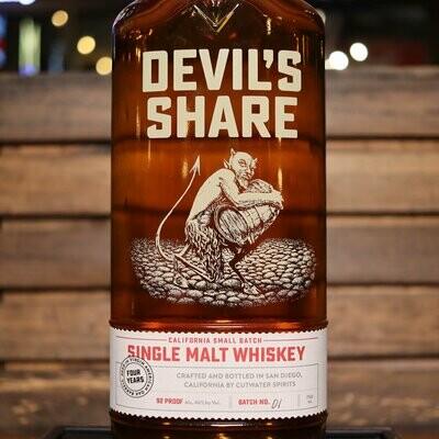 Cutwater Devil's Share Single Malt Whiskey 750ml.