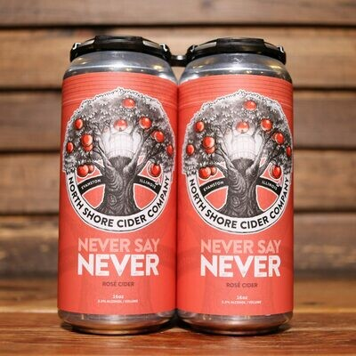North Shore Cider Never Say Never Rose Cider 16 FL. OZ. 4PK Cans