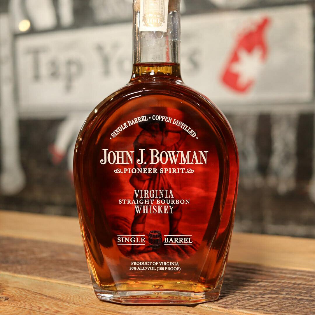 John J. Bowman Straight Bourbon Whiskey Single Barrel 750ml.