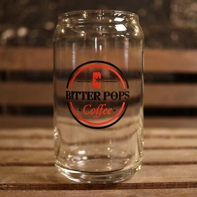 Bitter Pops Coffee Can Glass W/Round Logo 16oz.