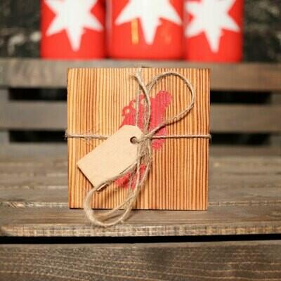 Wooden Coaster Square w/Red Growler 4 Piece Set