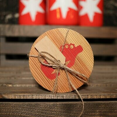 Wooden Coaster Round w/Red Growler 4 Piece Set