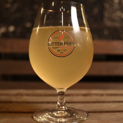 Bitter Pops Collectible Belgian Tulip Glass W/Round Logo & Gold Rim 16oz