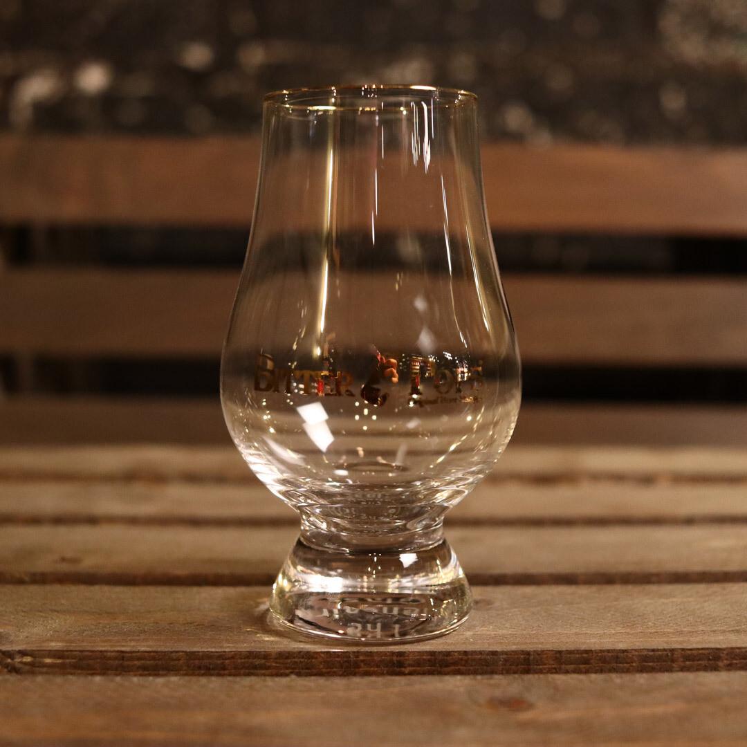 Bitter Pops Whiskey Glass W/Gold Rim & Logo 8oz