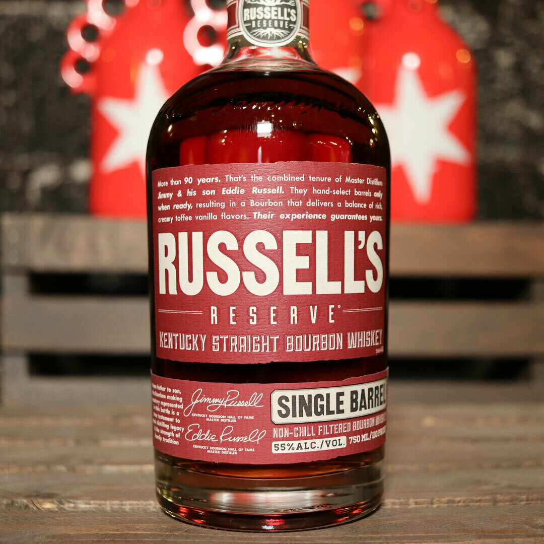 Russell's Reserve Single Barrel Kentucky Straight Bourbon Whiskey 750ml.