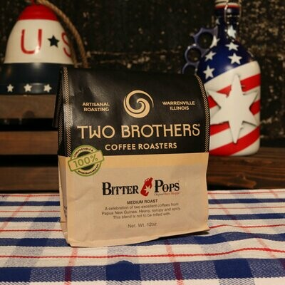Two Brothers BITTER POPS Medium Roast Whole Bean 12 OZ. BAG