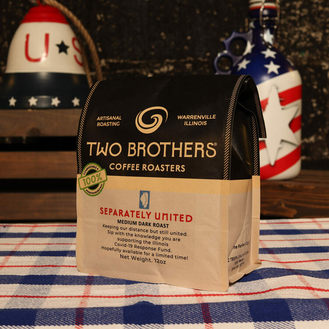 Two Brothers Separately United Medium Dark Roast Whole Bean 12 OZ. BAG