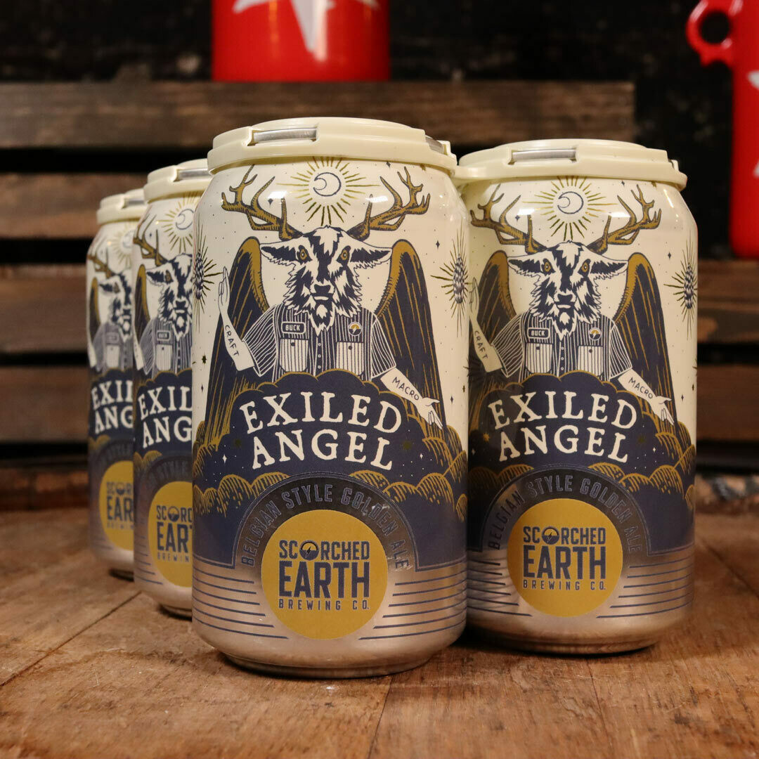 Scorched Earth Exiled Angel Belgian Style Golden Ale 16 FL. OZ. 6PK Cans