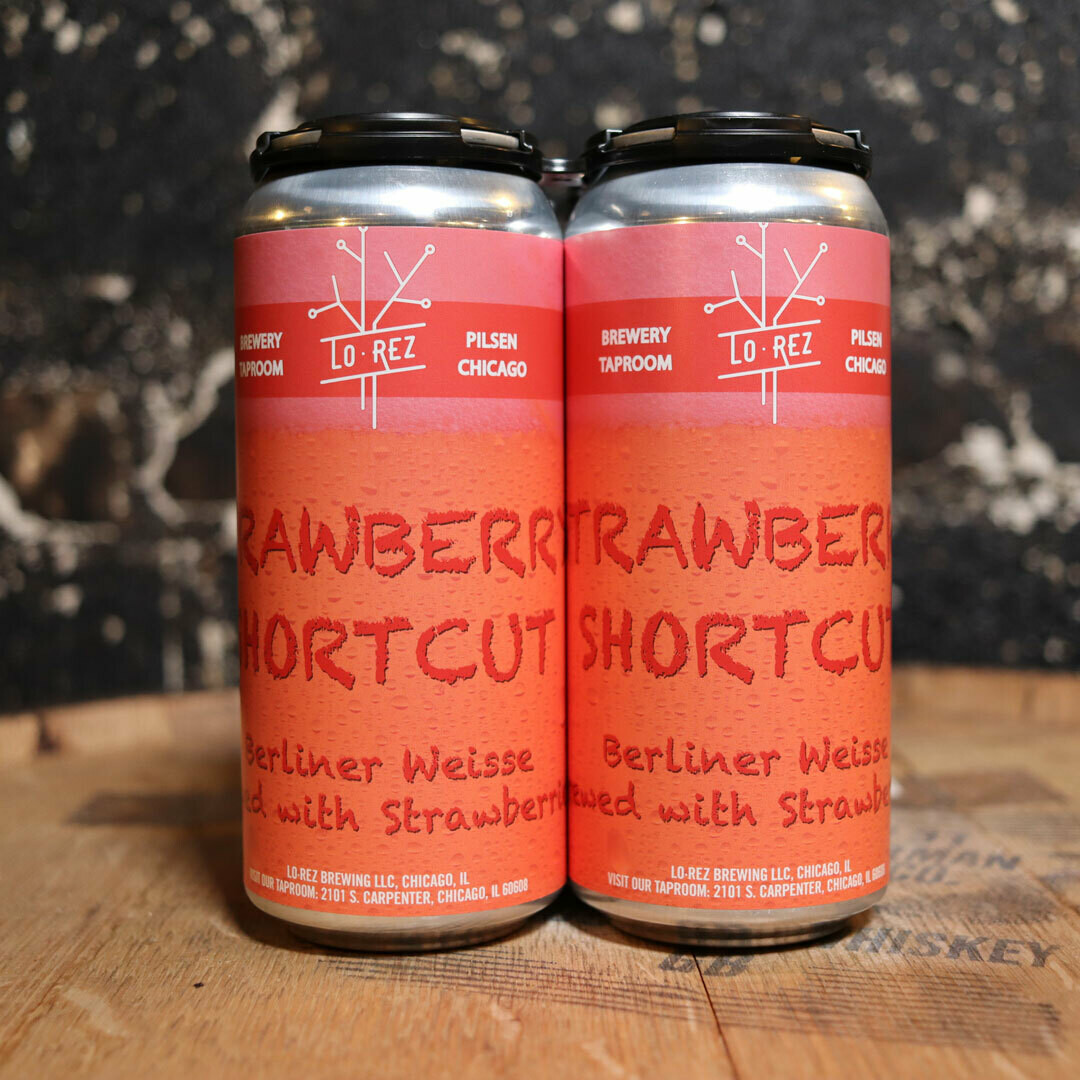 Lo Rez Strawberry Shortcut Beliner Weisse w/Strawberries 16 FL. OZ. 4PK Cans