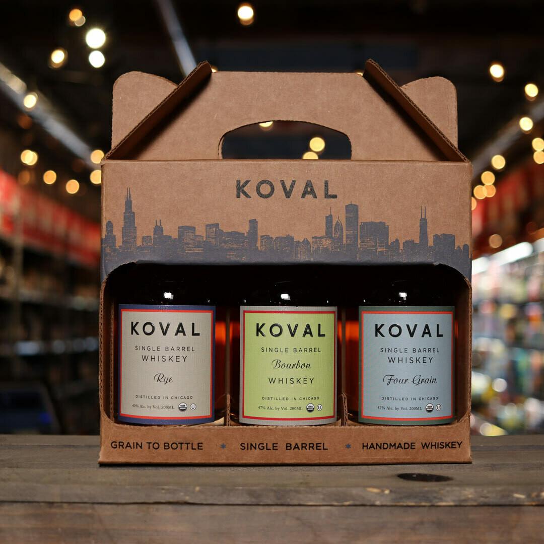 Koval Rye, Four Grains, & Bourbon GIFT PACK 20.28 FL. OZ. 3 Bottles