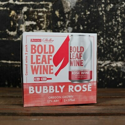 Bold Leaf Wine Bubbly Rose 375ml. 2PK Cans