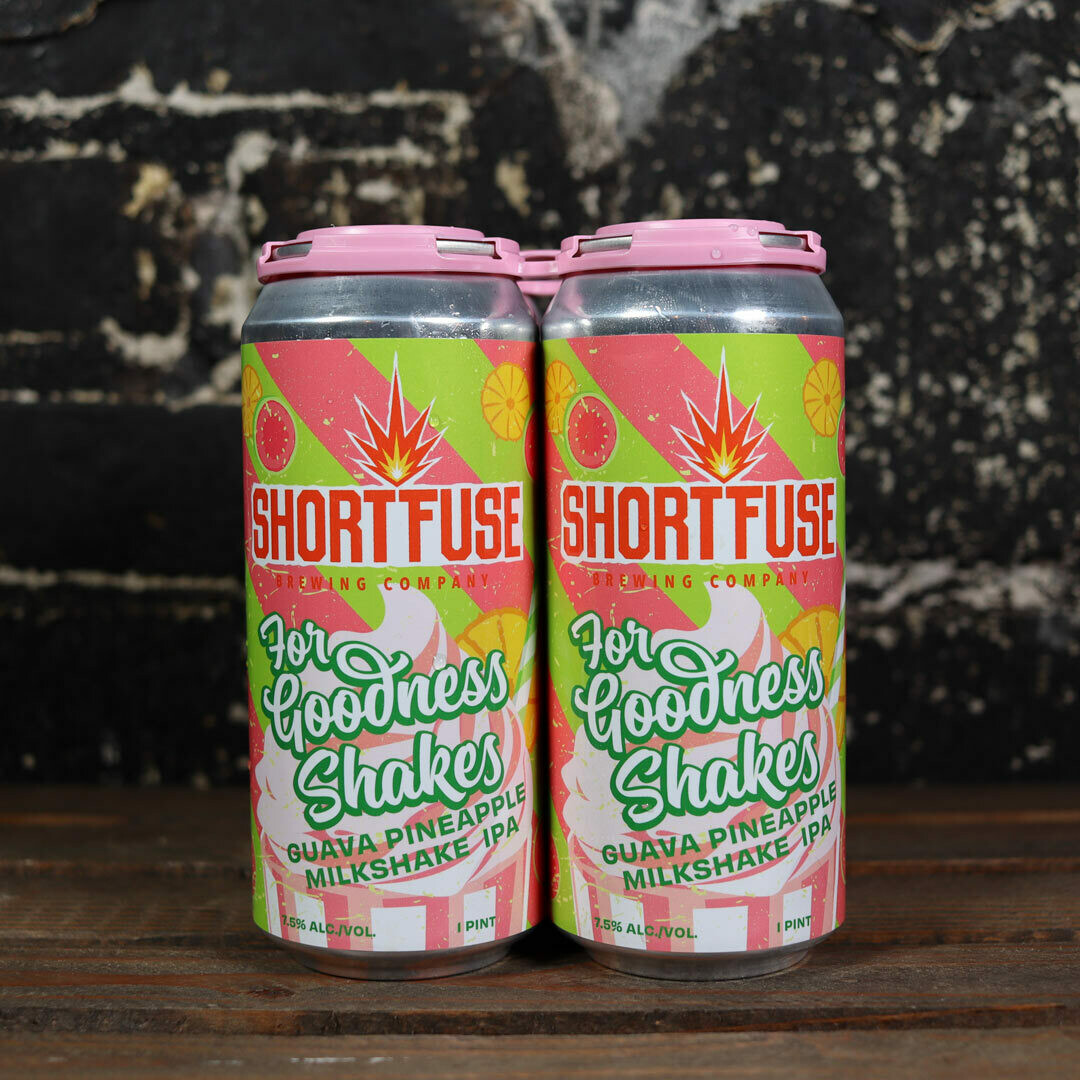 Short Fuse For Goodness Shakes Guava Pineapple Milkshake IPA 16 FL. OZ. 4PK Cans