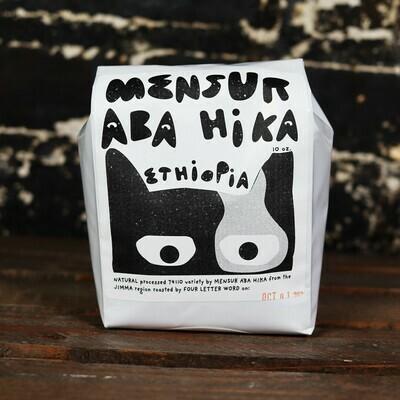 Four Letter Word Mensur Aba Hika Ehtiopia Whole Bean Coffee 10 OZ Bag