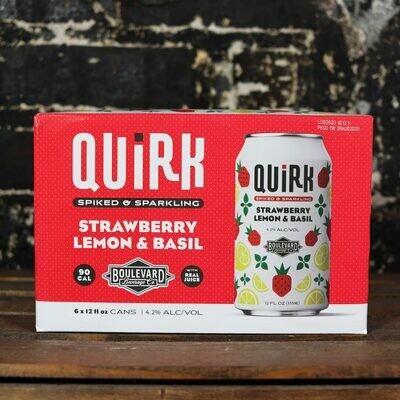 Boulevard Quirk Strawberry, Lemon & Basil Hard Seltzer 12 FL. OZ. 6PK Cans