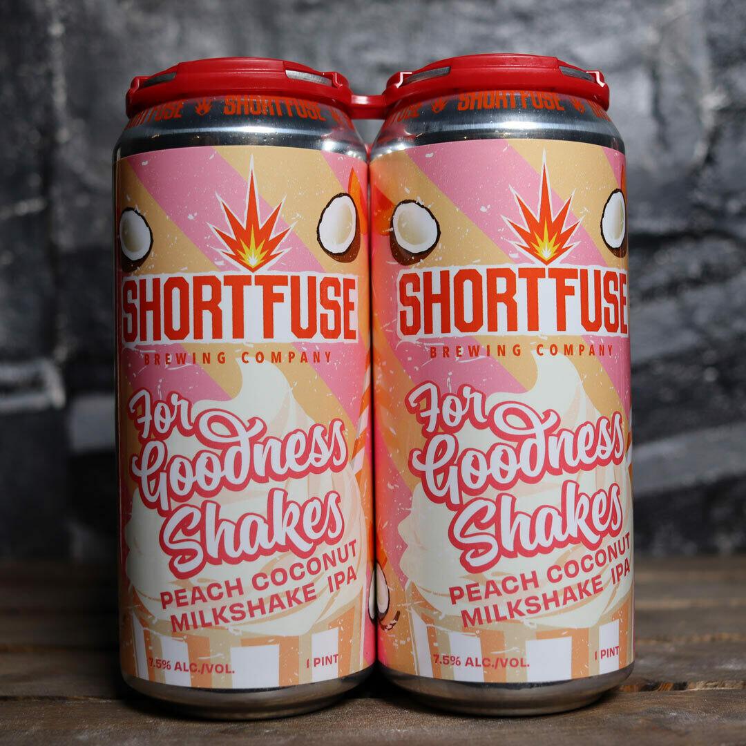 Short Fuse For Goodness Shakes Peach Coconut Milkshake IPA 16 FL. OZ. 4PK Cans