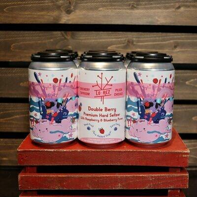 Lo Rez Premium Hard Seltzer Double Berry Raspberry & Blueberry 12 FL. OZ. 6PK Cans