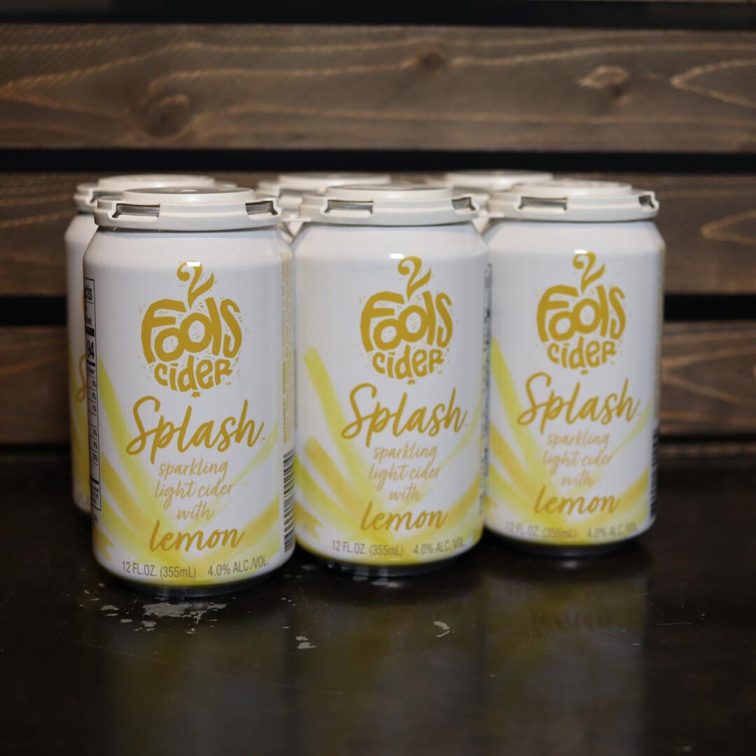 2 Fools Cider Splash Sparkling Lite Cider with Lemon 12 FL. OZ. 6PK Cans