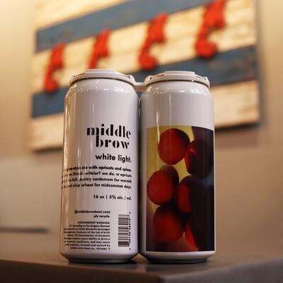 Middle Brow White Light Apricot Belgian Ale 16 FL. OZ. 4PK Cans