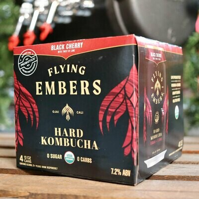 Flying Embers Hard Kombucha Black Cherry 12 FL. OZ. 4PK Cans