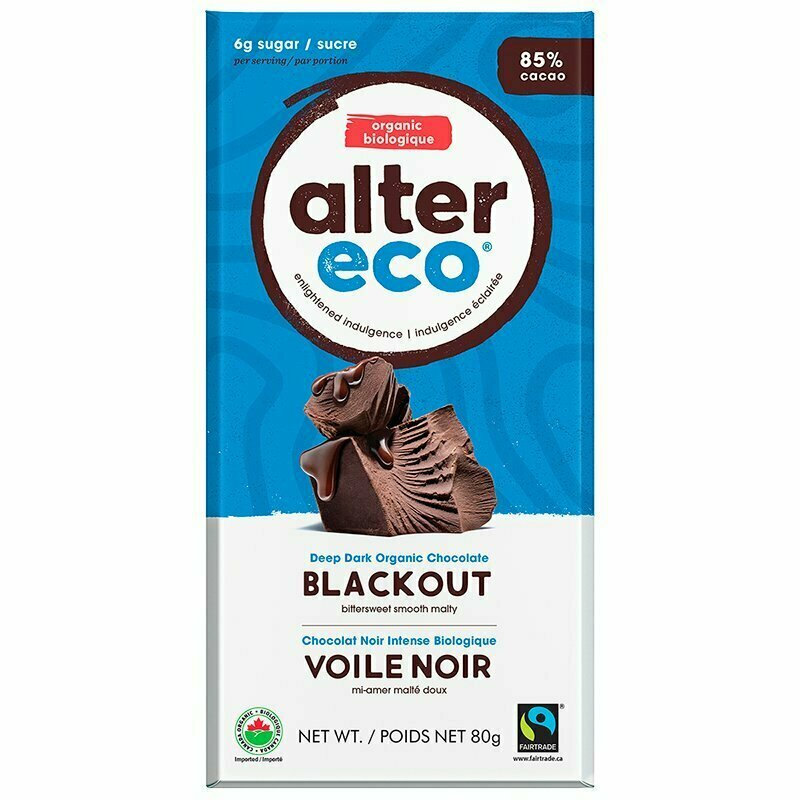 Alter Eco - Blackout 85% Dark Chocolate Bar 75g