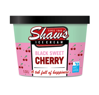 Shaw's Ice Cream -  Black Sweet Cherry  1.5L
