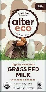 Alter Eco - Grass Fed Milk Chocolate w/Salted  Allmonds Bar 75g