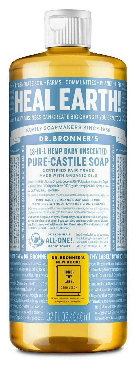 Dr. Bronner's 18-in-1- Baby Unscented Pure Castile Soap (946ml)