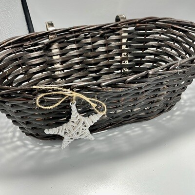Oval Brown Willow Basket w/Handles