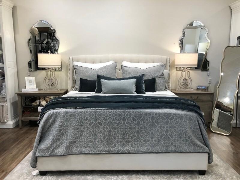 Cream Velvet Bed