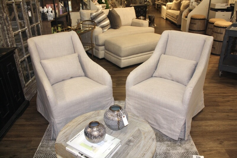 Grey Linen Slipcover Chairs