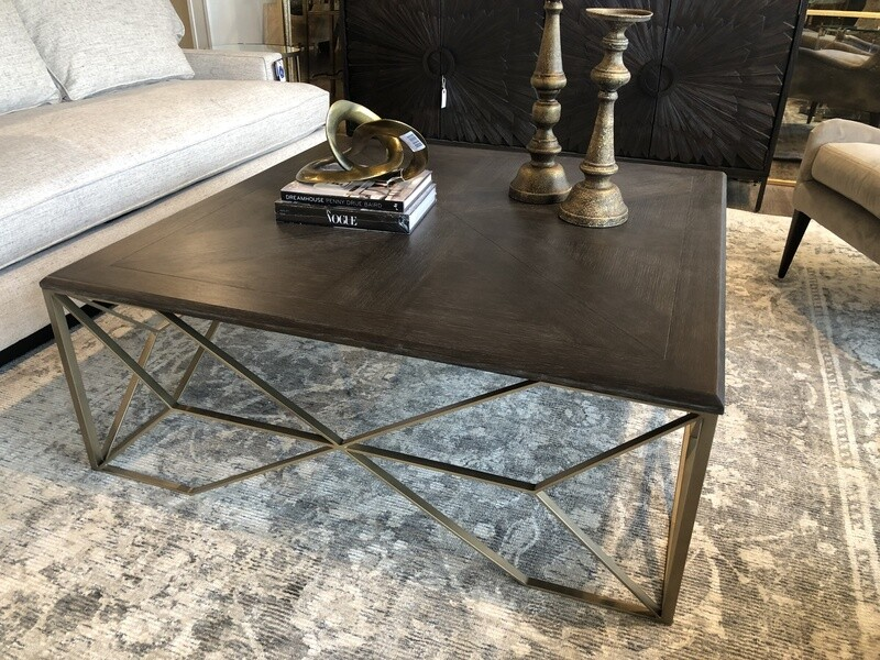 Square Wood and Iron Coffee Table