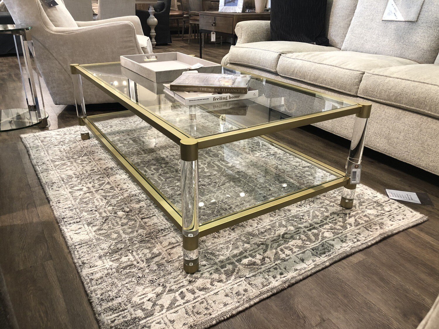 Glass and Acrylic Coffee Table In Brushed Brass